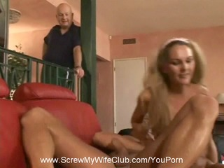 hubby approves as swinger wife screws