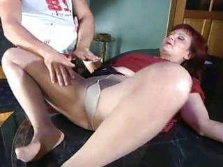 lascivious mom with nylon tights stuffed below