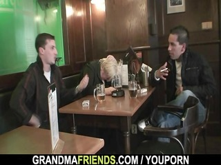 two dudes team fuck totally drunk granny