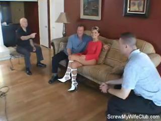 blond wife screws a stranger in front of her
