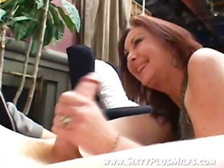 charly gets a oral-stimulation from granny