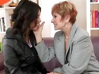 concupiscent milf lesbo and lesbian granny banging