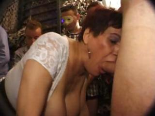 Busty french mature sucks cock with a younger