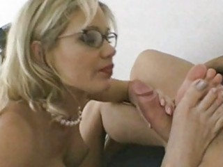 breasty milf in glasses receives pushed hard