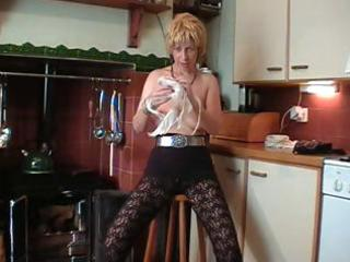 british blonde older does a striptease and toys