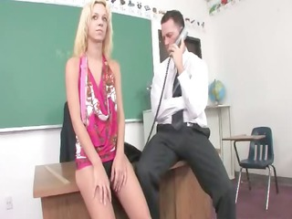 blonde student permeated in the cabinet