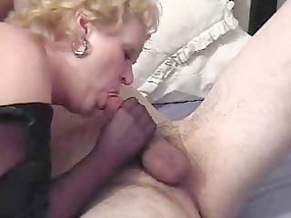 Nasty Auntie Fannys Nylon Handjob