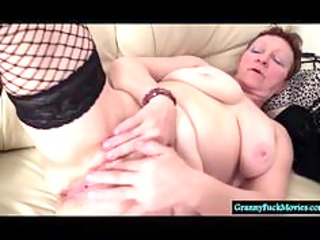 immodest granny fingering her shaggy old cookie