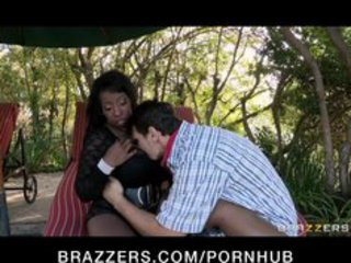 Huge tit black milf is fucked hard by gardeners