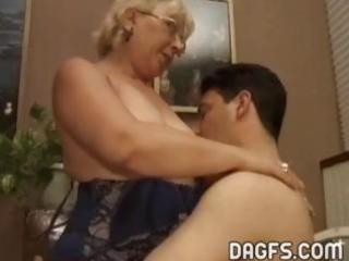 mature granny gets a younger rod to suck and