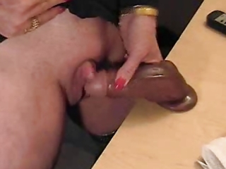 pervert grandma jerking off her massive clitoris