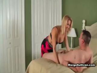 sexy blond cougar in lingerie seduces neighbour