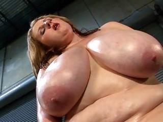 mega breasted milf lady oils her obese rack