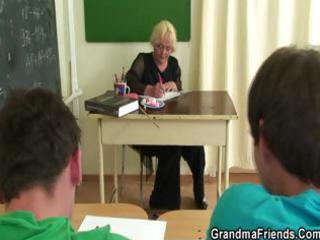 two studs fuck granny teacher