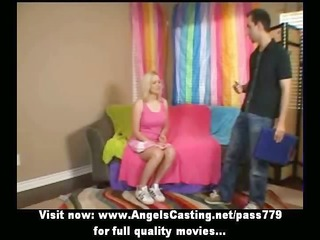blond cheerleader undressing and getting licked