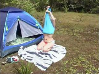 blonde aged goes camping just so she is cant lay
