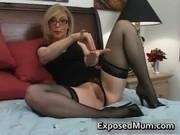Blond mum in glasses licking hard
