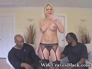 golden-haired wife engulfs black fellows