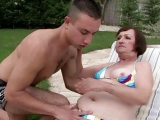 unsightly granny having sex with youthful chap