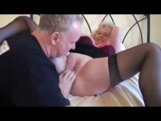 blond grandma in black nylons acquires trio act
