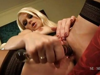 randy golden-haired milf in constricted black