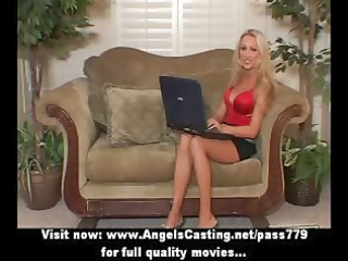 golden-haired mother i with laptop toying wet
