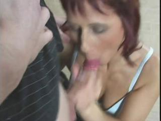 redhead mom acquires fingered, eats jock and