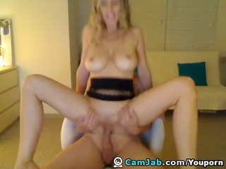 blonde breasty wife receive home fucking and
