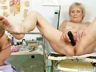 older old brigita getting cum-hole exam from