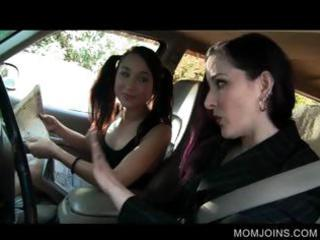 hawt mommy and daughter talked into fucking