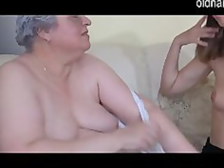 old breasty granny playing with slim cutie