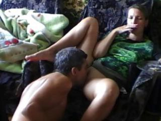 Horny amateur wife gets pussy munching pleasure