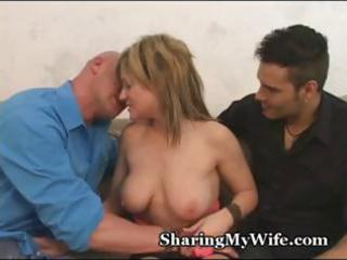 hubby watches whilst his hot blonde wife acquires