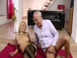 mature blonde doxy sucks down on old dude meat on