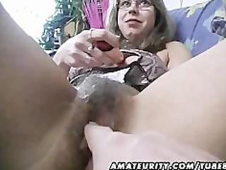 Hairy amateur wife toys and rides a cock with