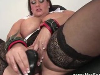 big beautiful woman milf gets sextoy drilled