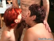 excited older bitches piss and gets juicy