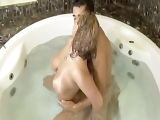 breasty latina having trio fun in the hot tub