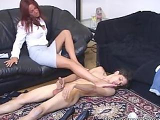 lick the female-dominator legs and masturbate