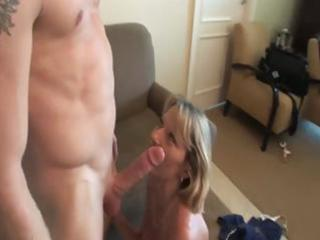 she is a sexy mature golden-haired who receives