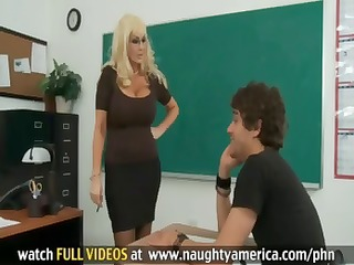 student fucks his sexy blonde teacher with huge