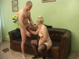Plumper russian mature blonde sucks his little
