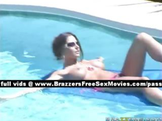 amazing breasty wife outside in the pool