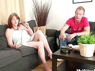 old bag rides youthful cock and his wife comes in