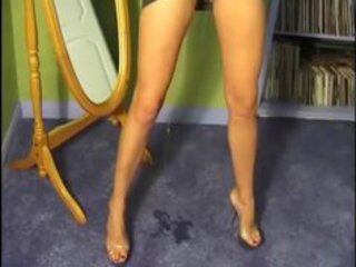 milf pees on carpet with costume on