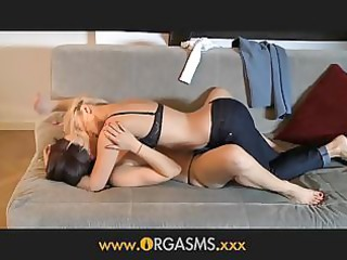 orgasms lesbo woman enjoys younger golden-haired