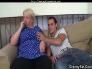 horny youthful boy bangs old golden-haired woman