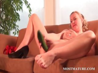 wicked mama nails her snatch with a cucumber