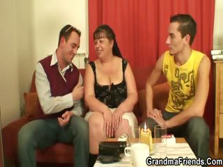two fellows group-sex overweight mature bitch