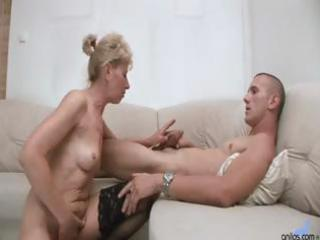 sexy golden-haired granny gets a younger guys